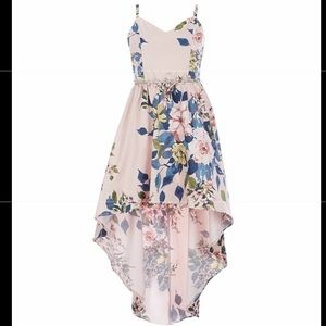 NEW RARE EDITIONS GIRLS HIGH LOW DRESS FLORAL PINK